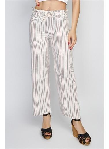 Rodi Jeans Kadın Ince Çizgili Lastik Bel Bol Paça Pantolon Rd21Yb010144 Lacivert